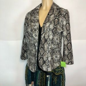 89th Madison snake print open front blazer top M